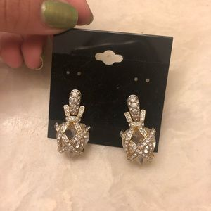 Swarovski Small Tear Shaped Criss Cross Earrings